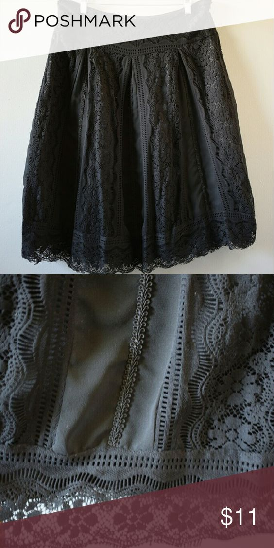 Black Faux Lace gypsy skirt Flowy and dark, the shell is nylon and polyester lace with a solid polyester lining. Fantastic for halloween, costumes, formal affairs, and looking generally bad***. Dress Barn Skirts