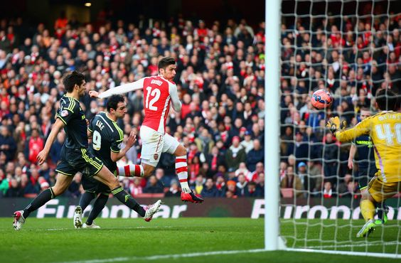 Two goals by Olivier Giroud. Arsenal 2-0 Middlesbrough (February 2015)