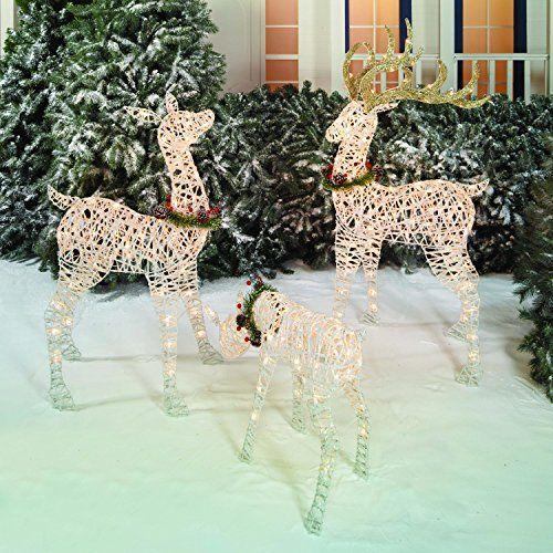 Outdoor Christmas Reindeer Family 3 Set 220 Lights 52   Www Amazon Com Dp B076z51 Outdoor Christmas Reindeer Outdoor Christmas Holiday Time Lights