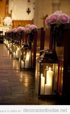 ideas para decorar camino al altar en boda iglesia