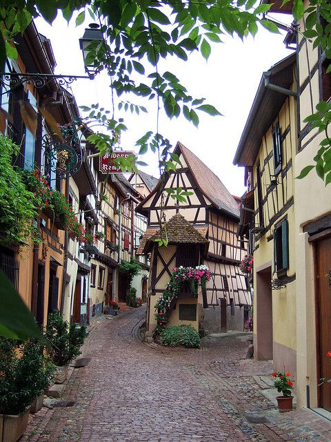 On the streets of Eguisheim (Alsace), one of the most beautiful villages in France