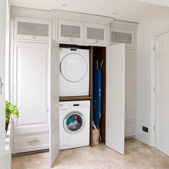White Laundry Room Beautiful Concealed Laundry And Utility Room Ideas