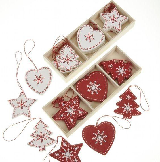 24 Red and White Wooden Traditional Christmas Tree Decorations in Heart, Tree…: