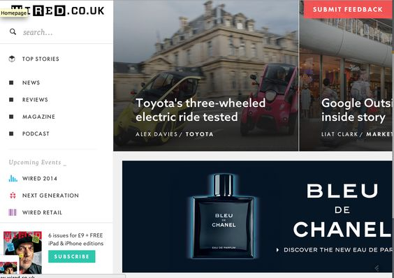wired.co.uk horizontal image-based article navigation | Large ...