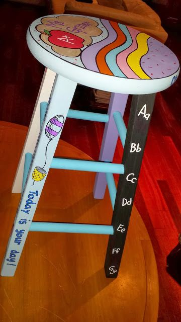 Custom painted stool