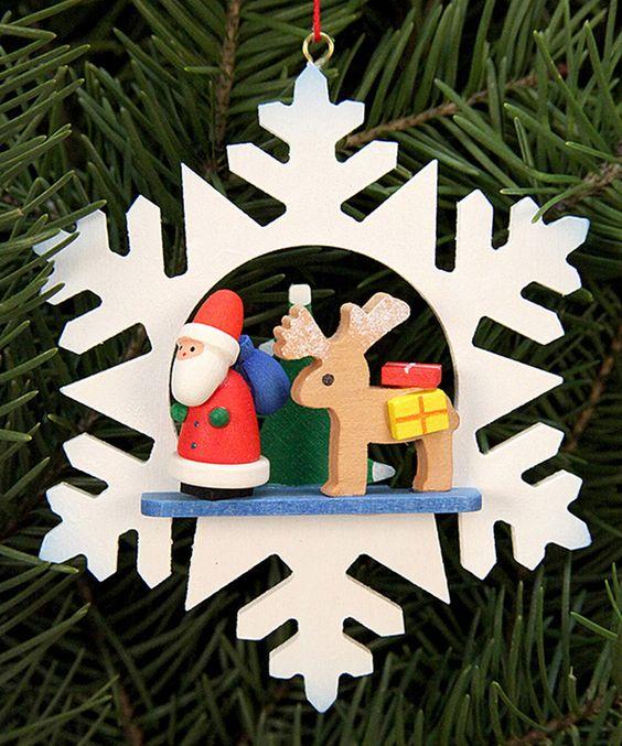 Look at this #zulilyfind! Wood Santa & Snowflake Ornament by Christian Ulbricht #zulilyfinds