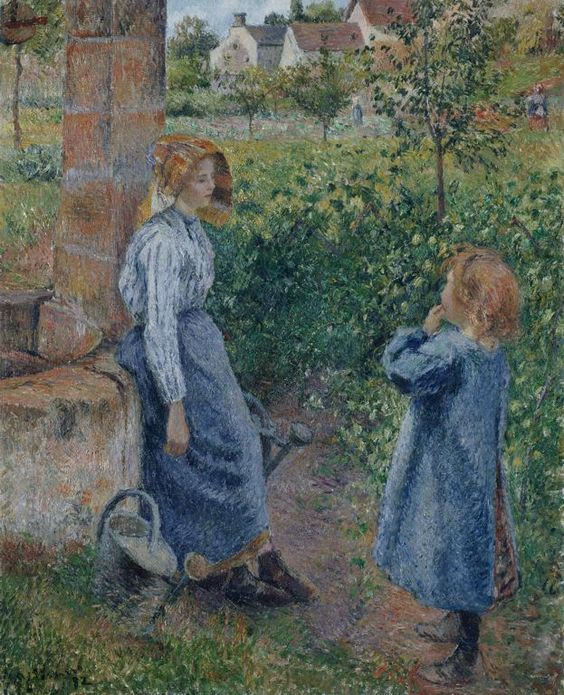 Camille Pissarro  French, 1830-1903  Woman and Child at the Well, 1882