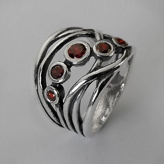 Sterling Silver Red Garnet Stacking Ring
