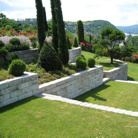 Mauerblock als Hangbefestigung Mauer Pinterest Gärten - verputzte beton mauer bilder gartengestaltung