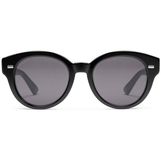Gucci Havana Round-Frame Sunglasses ($375) ❤ liked on Polyvore featuring accessories, eyewear, sunglasses, black, gucci, logo sunglasses, gucci eyewear, gucci glasses and round lens sunglasses