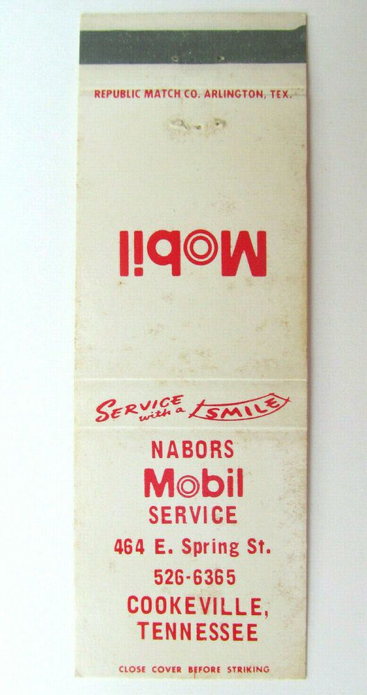 Nabors Mobil Service Cookeville Tennessee Station 20 Strike Matchbook Cover Matchbook Republic Airlines Cover