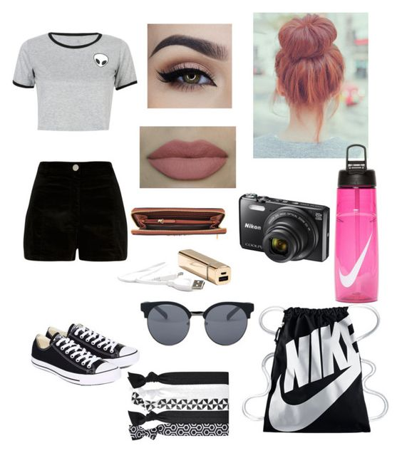 """""""Theme Park Outfit Idea """" by kindlykayyy05 ❤ liked on Polyvore featuring WithChic, River Island, Converse, NIKE, Quay, Popband, Nikon and Michael Kors"""