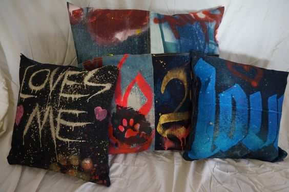 New Graffiti Denim LOVE pillows