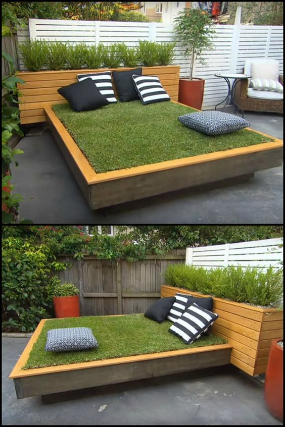 There's nothing more soothing than relaxing with the sounds and smells of nature.  Now if you live in a home with a concrete backyard, and you've been wishing you had a garden instead where you can unwind, here's a very innovative solution for you…  This daybed project is a lot easier and far more practical than digging up concrete backyard and turning it into a garden.