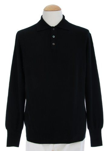 Shephe 4 Ply Men's Polo Cashmere Sweater with 3-button Black XXX-Large 100% Pure and High Quality Cashmere. Substantial Weight. Full Range of Sizes.  #Shephe #Apparel