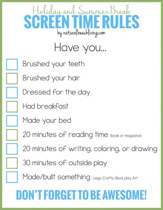 Holiday and Summer Rules for Screen Time, Free Printable, Manage screen time for kids, Setting Screen Time Limits, Get Kids interested in fun activities.: