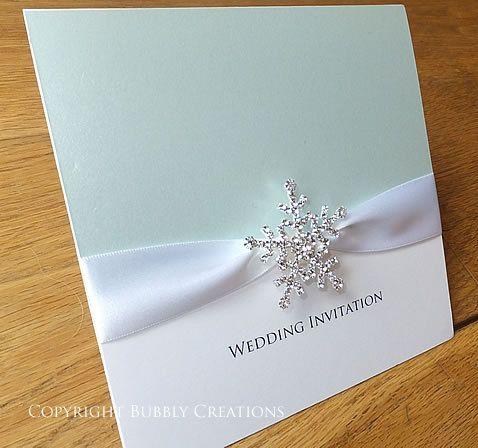 Blue Snowflake wedding invitation. Ice Blue by BubblyWeddings