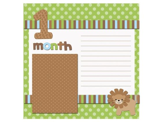 8 x 8 baby scrapbook pages | Baby Scrapbook Pages fits 8x8 photo album - Made to match baby month ...