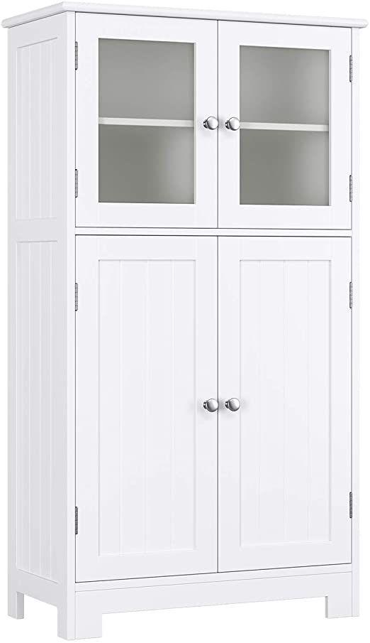 Homecho Bathroom Floor Storage Cabinet Wood Linen Cabinet With Doors And Adjusta Bathroom Floor Storage Cabinet Bathroom Floor Storage White Bathroom Cabinets Free standing storage cabinets with doors