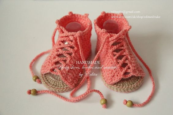 Crochet baby sandals, gladiator sandals, booties, shoes, coral and tan, wooden beads, READY TO SHIP, size 3-6 months