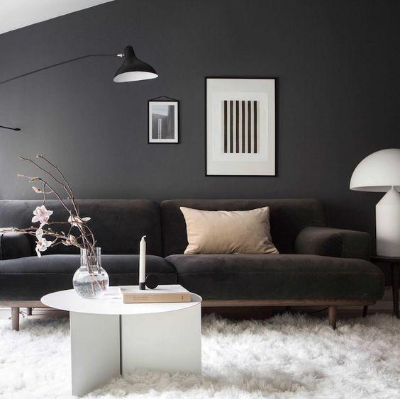 Mörk vägg och fluffig ljus matta
