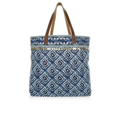 Monsoon Blue Ferne printed beach bag | Debenhams