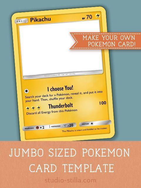 Pokemon Card Template Make Your Own Pokemon Card Printable Pdf Kinderfeestje Pokemon Verjaardag