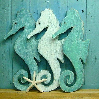 Seahorse Sign Sea Glass Green Weathered Wood Beach House Decor. $60.00, via Etsy.