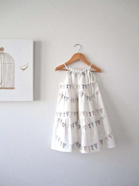 White Cotton Summer Girls Dress-French Bunting Flags-baby-toddler ...