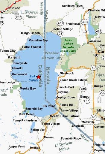 Map Of Tahoe Beaches   Lake Tahoe Rental Properties