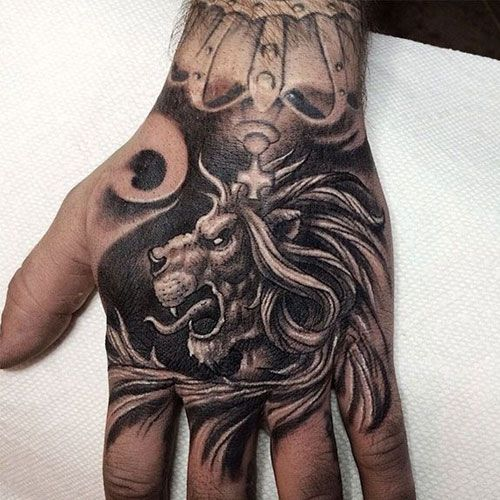 125 Best Lion Tattoos For Men Cool Designs Ideas 2020 Guide Hand Tattoos For Guys Crown Hand Tattoo Tattoos For Guys