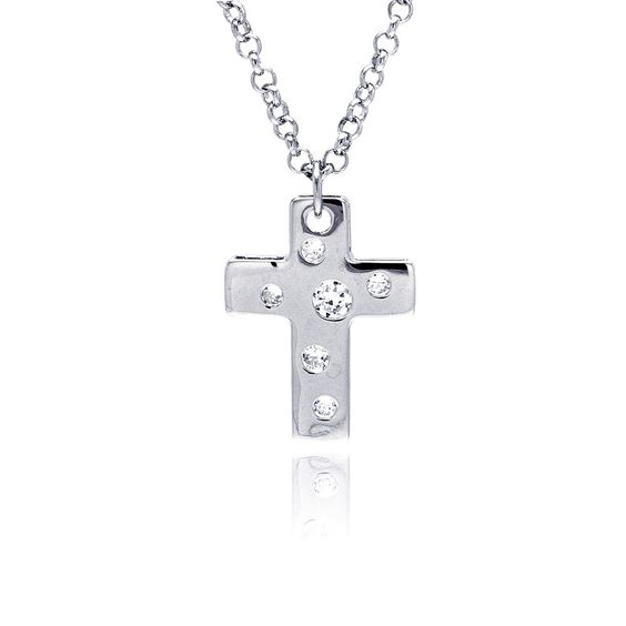 .925 Sterling Silver Rhodium Plated High Polish Cross Multi Sized Clear Cubic Zirconia Pendant Necklace 18 Inches