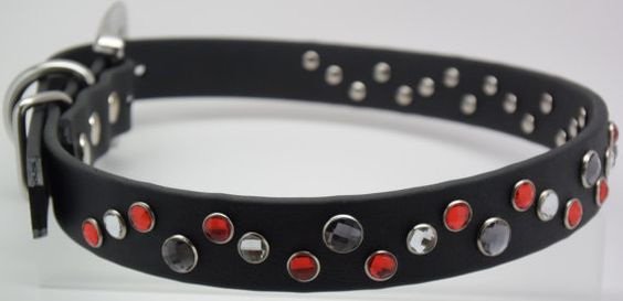 The Deco Dog Collar Biothane Stainless and Bling by CollarsbyKitt