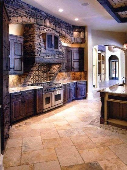 Nice rustic looking cabinets and walls