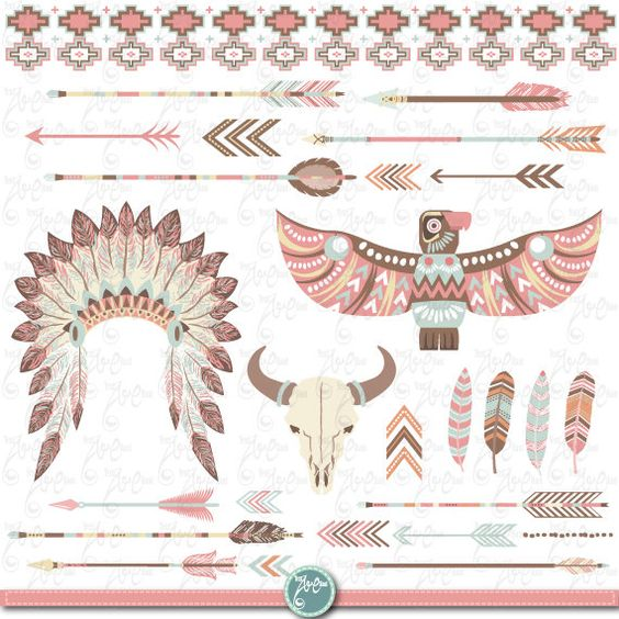 Clip Art Tribal Clip Art tribal clipart pack indian clip art feather headdress feathers yenzarthaut etsy