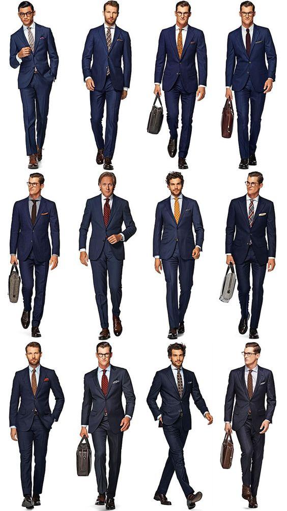 Men's Navy Suit Outfit Inspiration Lookbook