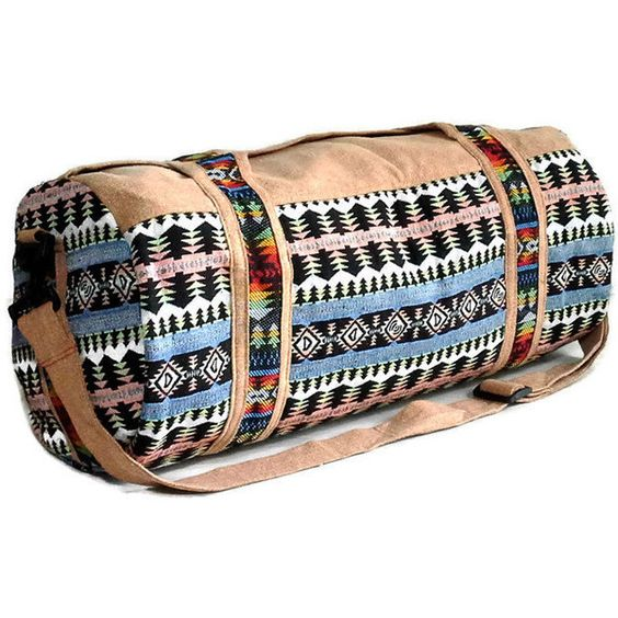 Handmade Native Duffle Bag, Southwestern Style Weekender bag, Hippie... ($33) ❤ liked on Polyvore featuring bags and luggage