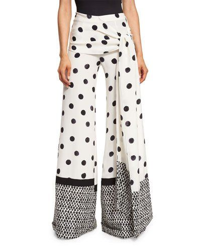 OSCAR DE LA RENTA POLKA-DOT WIDE-LEG PANTS, BLACK/WHITE. #oscardelarenta #cloth #