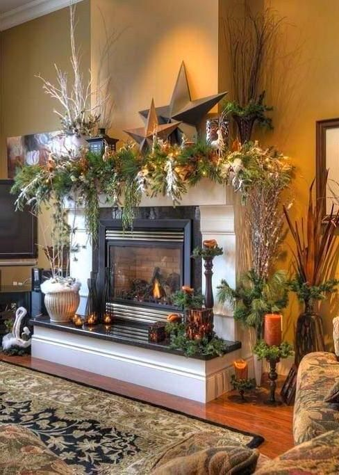 Fireplace Decor In 2020 Christmas Fireplace Decor Mantel Decorations Christmas Mantle Decor