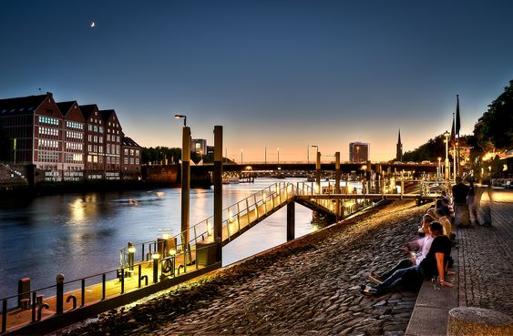 Bremen (Germany) - evening at the river Weser #travel #landscape #photography