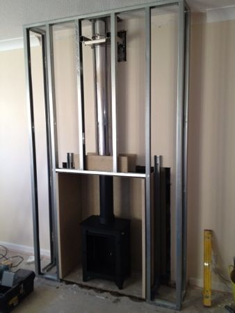 Building a fake chimney breast i love this but need to for Wood burning fireplace construction