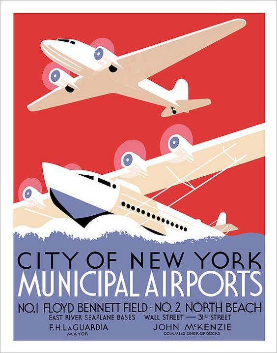 New York City Municipal Airports Print  WPA Poster by aswegoArts, $17.50