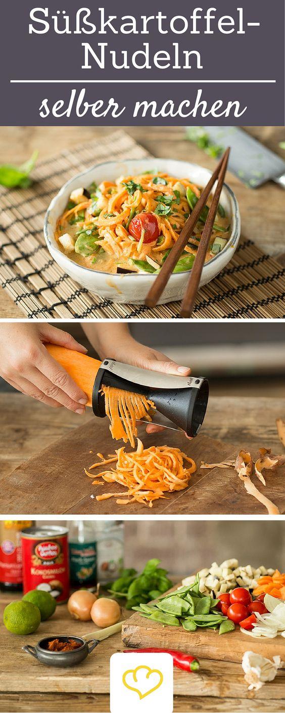 Nicht nur Zucchini lassen sich wunderbar zu #Zoodles verarbeiten, auch aus Süßkartoffeln könnt ihr mit Hilfe eines #Spiralschneiders 1A Gemüsenudeln machen!