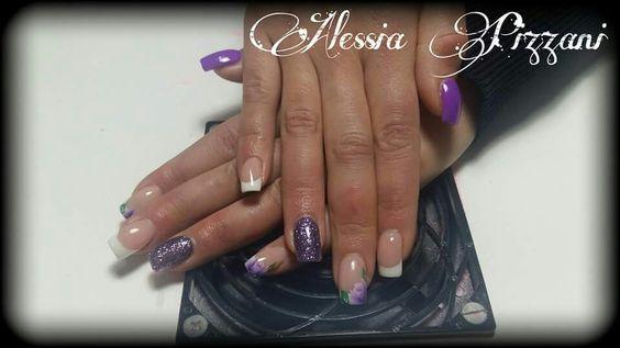 French bianco viola glitter viola fiori