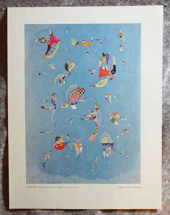 Fun, Vintage Kadinsky, Original Heliogravure,  Ready To Ship,  Vintage Prints,  Art Prints,  Art Home Decor,  Vintage Art by FunFloridaVintage on Etsy