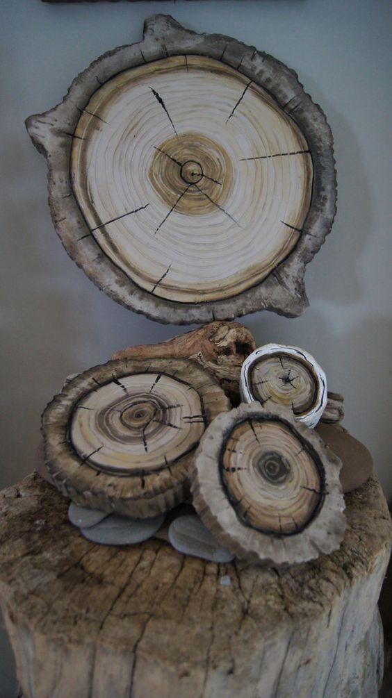 Woodland Wall Art 3D  Natural Wood Stump Wall Hanging by solamar7, $175.00