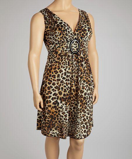 Taupe Leopard Surplice Dress - Plus