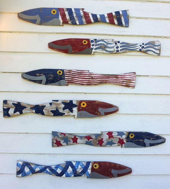 Patriot Fence Fish S/6: Coastal Home Decor, Nautical Decor, Tropical Island Decor & Beach Furnishings