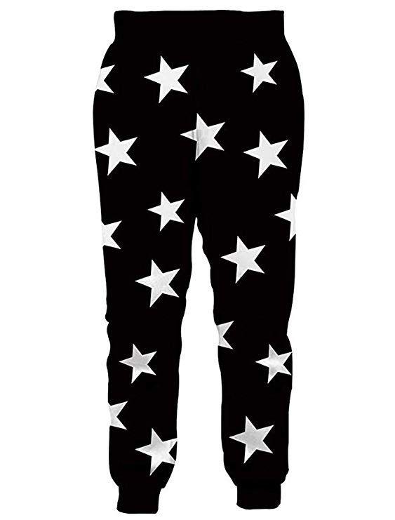 Raisevern Unisex Sweatpants Black White Stars Funny Joggers Pants
