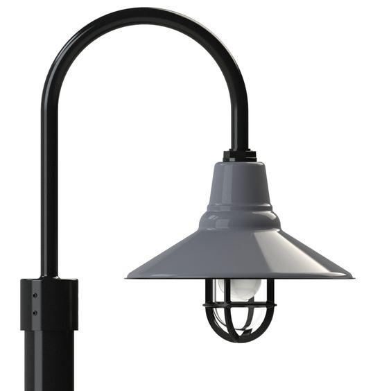 Barn Light On Post: Aero Shallow Bowl Shade Pole Mount Light